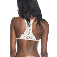Floral Crochet Back Swim Top | Wet Sea;