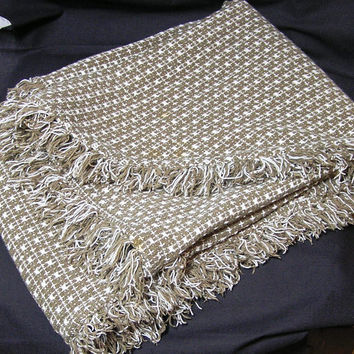 Brown & White Woven Vintage Tablecloth, Hand Loomed in India, 100% Cotton with Fringe, Oval 60 x 47 Inches