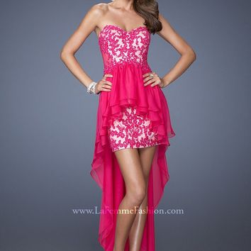 La Femme 19707 Strapless High Low Dress