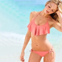 Comsoon-2014 New Sexy Flouncing Lotus Bikini Top & Bottom Set Swimsuit Bathing Suit