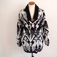 black white oversized cardigan - 80s vintage dove bird print boyfriend knit sweater - one size