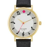 kate spade new york 'metro - music note' leather strap watch, 34mm