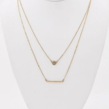 Gold Rhinestone Pendant Necklace