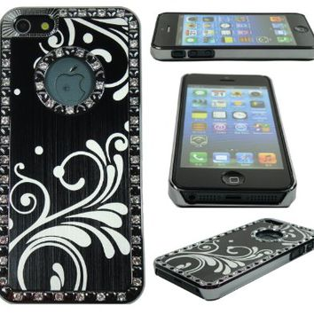 TCD Black iPhone 5 5S Deluxe Luxury Stylish Floral Diamond Rhinestone Bling Chrome Hard Case Cover