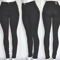 New High Waist Rise Black DISTRESSED Skinny Classic Jeans Pants R10