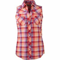 Bit & Bridle™ Ladies' Sleeveless Y-Neck Plaid Cotton Shirt, Purple Plaid