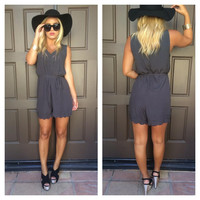 Natalia Scallop Sleeveless Embroidered Romper - Ash Grey