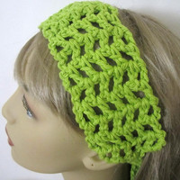 Lime Green Spring Headband, Summer Womens Hair Accessories, Crochet