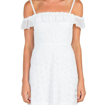 Ruffle and Lace Off The Shoulder Dress - White /