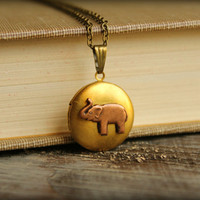 Copper Elephant Locket Necklace by saffronandsaege on Etsy
