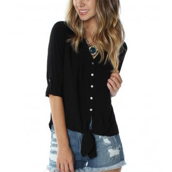 Tied Button Down Black