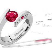 Premier Designer Ruby & Diamond Tension Set Engagement Rings