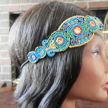 Headbands, Beaded headband, Music Festival, Hippie, Boho headband, Bridal head piece, Gold and mint, Jewel beaded headband, Elastic back
