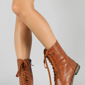 Tommy-02 Studded Lace Up Military Boot