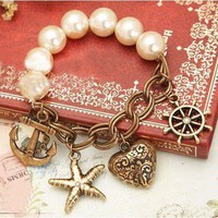 Vintage Heart&amp;Helm&amp;Anchor Pendant Loarge Faux Pearl Charm Bracelet | eBay