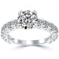 3.72 Carat F-SI2 Certified Natural Round Diamond Engagement Ring 18k White Gold - Vintage Engagement Rings - Engagement