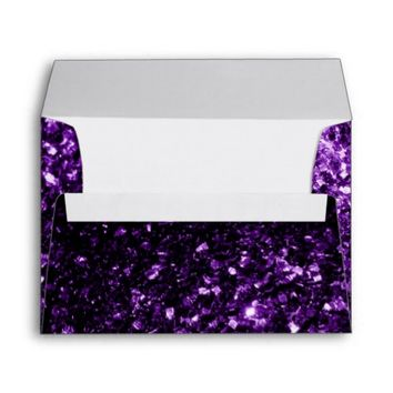 Beautiful Purple glitter sparkles print envelope by PLdesign