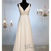 Buy Luxury V Neck Beach Romantic Wedding Dress (L# r8005)