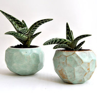 Faceted Ceramic Planter, Glazed in Green Color and in Red Clay or White Clay