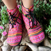 Women's Fun Colorful Embroidered Ankle Boot by SiameseDreamDesign
