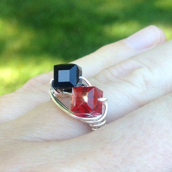 Swarovski ring black and red silver wire crystal ring