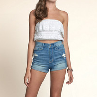 Seascape Lace Strapless Crop Top