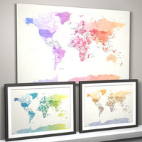 Political Watercolour World Map Art Print