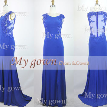 2014 evening dress, Beads Lace Backless Blue Prom Dress, Wedding Dress, Evening Gown,Formal Dress,wedding gown