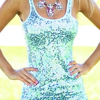 Princess Ariel Mint Sequin Tank Top
