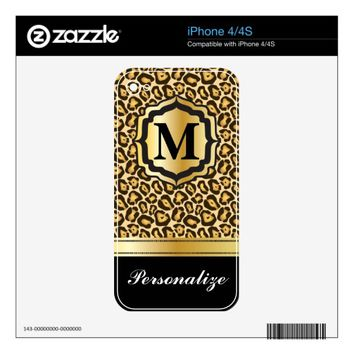 Monogram Jaguar Print with Gold Bar