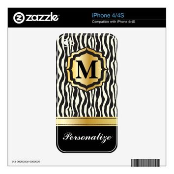 Monogram Zebra Print with Gold Bar