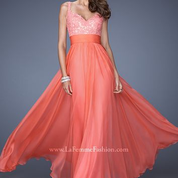La Femme 19882 - Hot Coral V-Neck Jeweled Chiffon Prom Dresses Online
