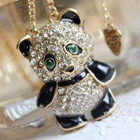 Cute Rhinestone Panda Pendant Chain Necklace at Online Jewelry Store Gofavor