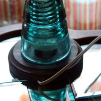 Antique Aqua Beehive Insulator Night Light ~ Pre-1900 Upcycle Desk Lamp, Antique Accent Light