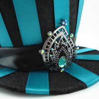 Pride of Juno Teal Striped Mini Burlesque Peacock by angelyques