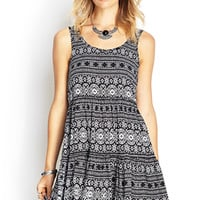 FOREVER 21 Tribal Print Cutout Dress Black/White
