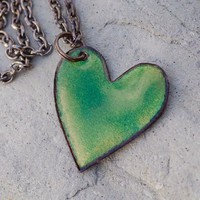Copper Enamel Heart Pendant Necklace New Beginnings by Venbead