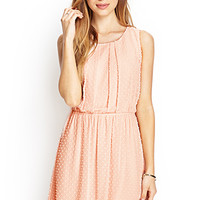 FOREVER 21 Swiss Dot Fit & Flare Dress Pink