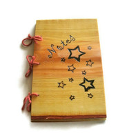 Star Pattern Notebook Journal Wood Burnt by BillsWoodenPleasures