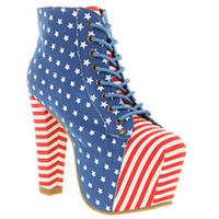 Jeffrey Campbell LITA PLATFORM ANKLE BOOT USA FLAG RED BLUE WHT Shoes - Womens Ankle Boots Shoes - Office Shoes