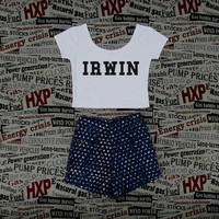 IRWIN 5SOS Crop Top Ladies Short Sleeve Stretch T Shirt Tee