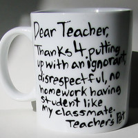 Dear Teacher, Thanks for putting up with an ignorant... Funny Graduation Mug, Gift for Teacher