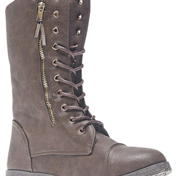 Tall Zip-Side Combat Boots | Wet Seal