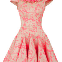 Rhian - Bright Coral patterned Skater Dress