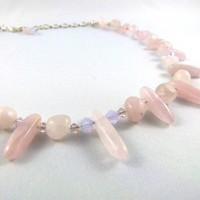 Rose Quartz Shine Necklace by angelyques on Etsy