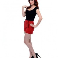 Red High Waist Super Stretch Button Down Shorts