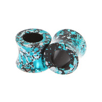 Morbid Metals Metallic Teal And Silver Splatter Plugs 2 Pack