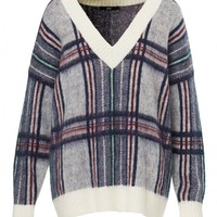BRUSHED CHECK SWEATER - Knitwear - Clothing