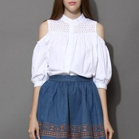 Cut Out Shoulder Eyelet White Blouse