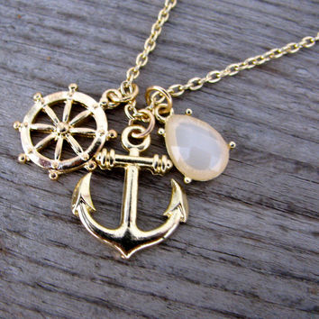 Anchors Away Necklace - Cream